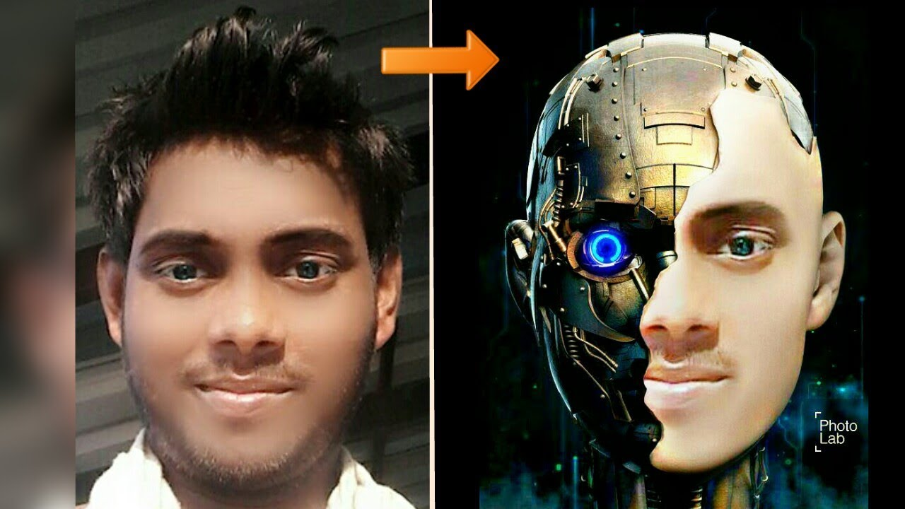 Best Half Robot face mask editing tutorial || photo lab ...