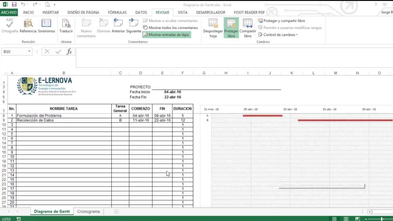 Creación de un cronograma de actividades mediante un Diagrama de ...