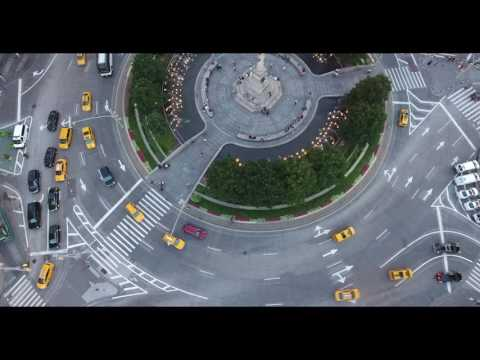 Columbus Circle New York City,4k with drone footage