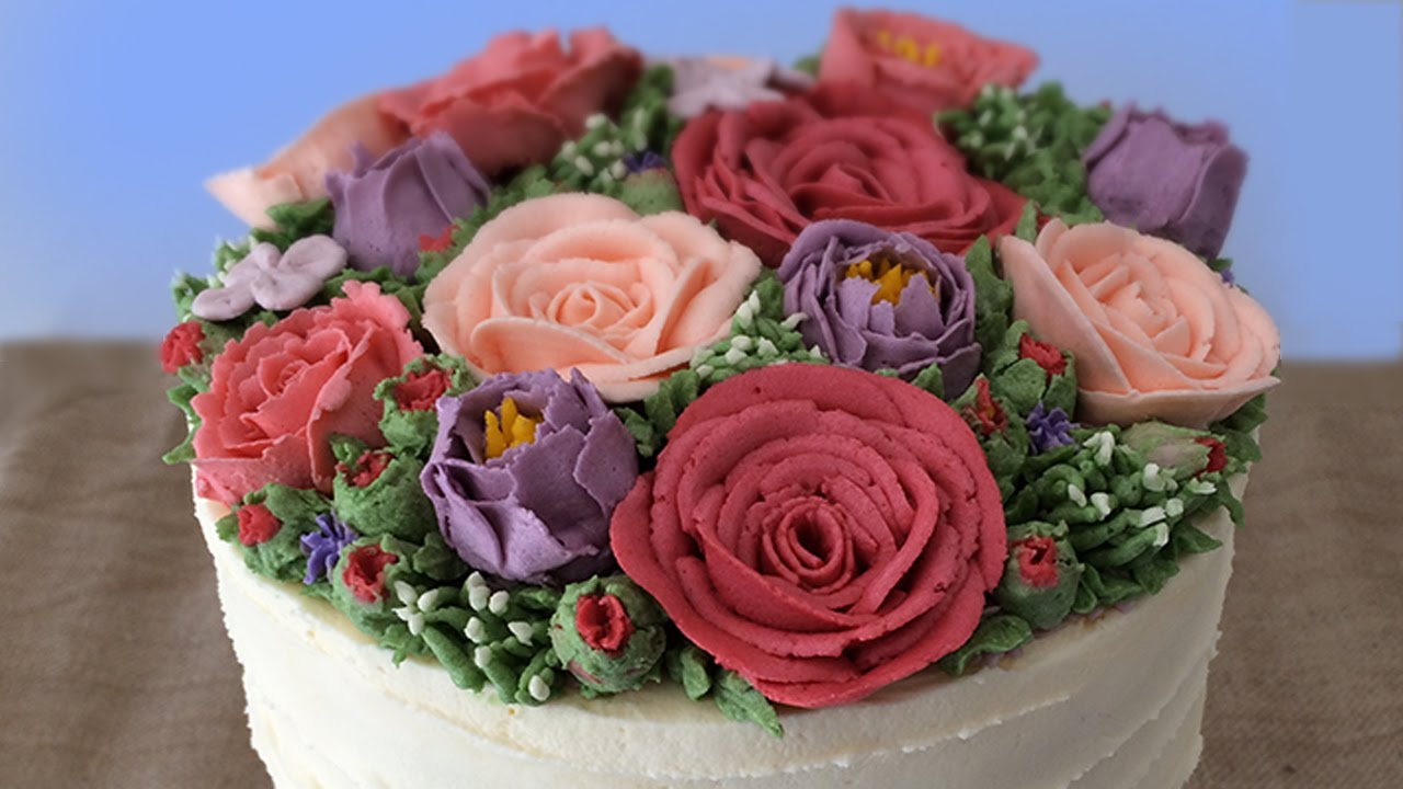 Buttercream Flower Cake Tutorial How To Cook That Ann Reardon Youtube