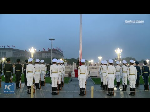Flag raising ceremony at Tian'anmen Square in Beijing on National Day