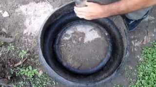 Canteiro econômico feito com pneu