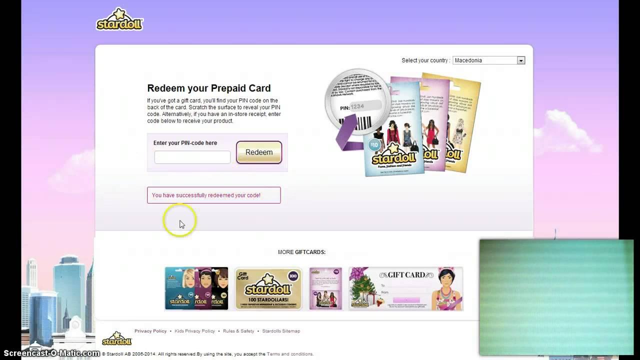 Stardoll gift card for stardollars