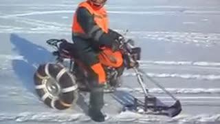 Зимние покатушки на мопеде Альфа - самодельный снегоход-трицикл из мотоцикла Alpha