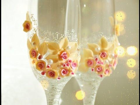 Розочки из полимерной глины своими руками на бокал