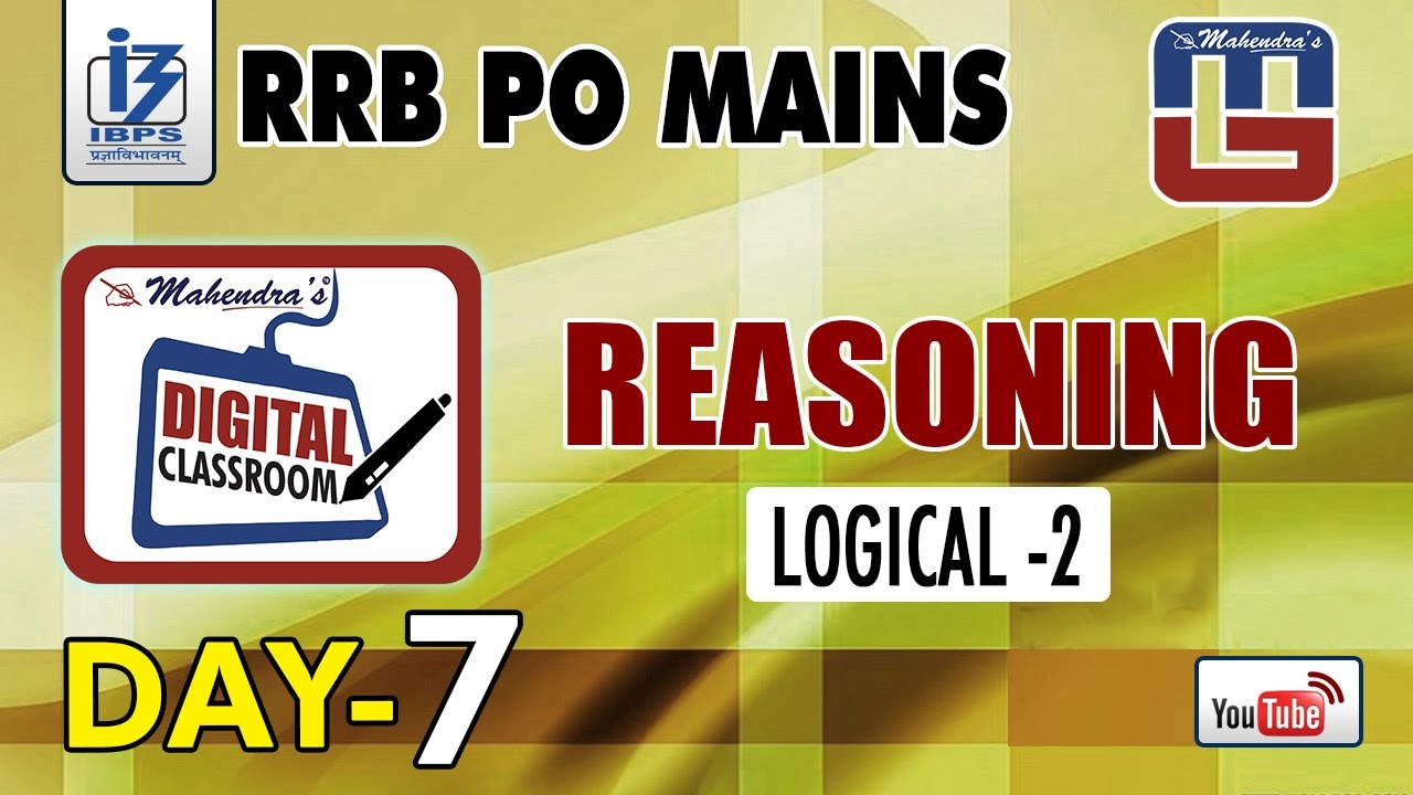 Download LOGICAL - 2   DAY - 7   #Rrb_PO_MAINS   REASONING   #digitalclassroom