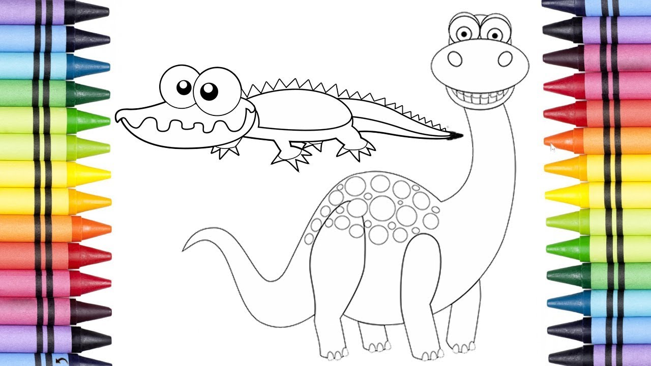 Baby Crocodile And T Rex Coloring Pages Coloring Book Learn Colors