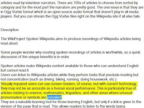 Wikipedia Spoken Articles