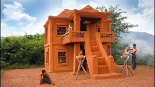 Building A Modern Mud House Construction Tile Roof By Traditional Tools