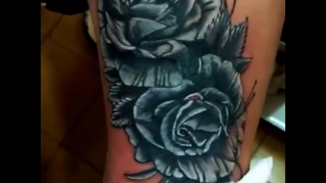 Tatuaje De Rosas Para Mujer En La Pierna Youtube