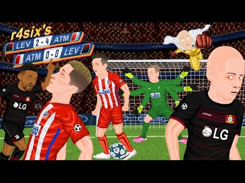 Parodia animada del Atlético de Madrid - Leverkusen de Champions League 15/3/2017