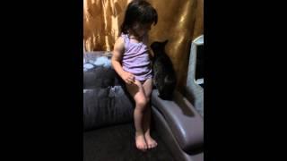 """""""друг в беде не бросит"""".Так наша кошка всегда жалеет дочу ,если она плачет"""