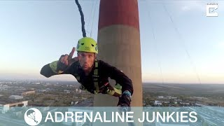Daredevil Friends Rope Jump From 400ft High Chimney