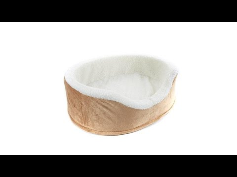 Soft   Cozy Heated Plush Oval Pet Bed  Small