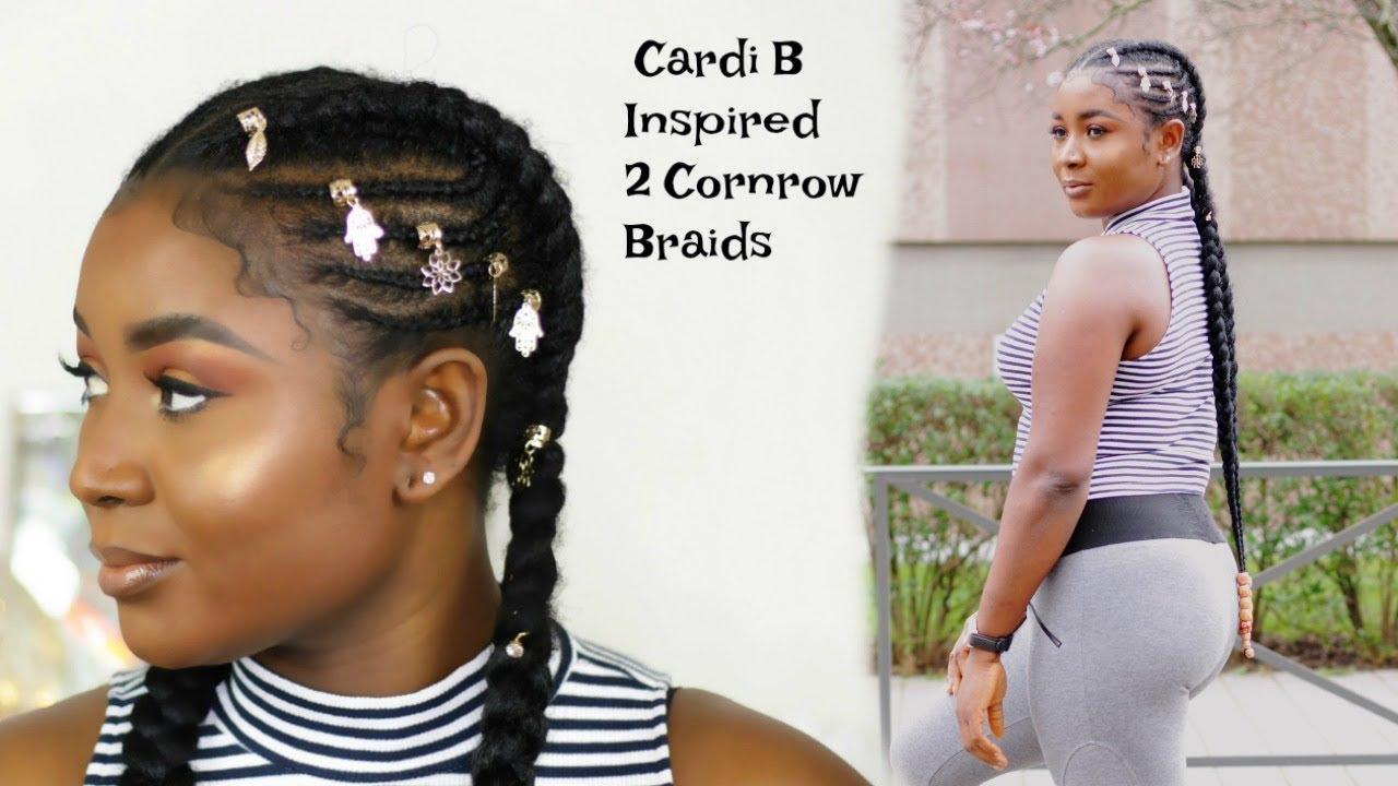 Cardi B Braids: 2 CORNROWS INSPIRED BY CARDI B