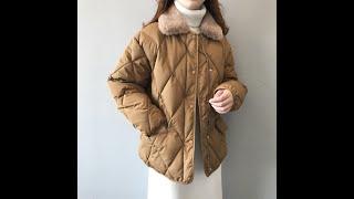 Зимняя куртка пальто для женщин повседневная корейский стиль стеганая теплая с кроличьим