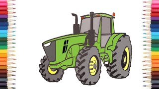 How to Draw a John Deere Tractor step by step by ck arts