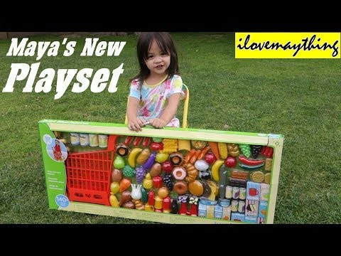 Thumbnail: Kitchen Toy Set for Little Girls: Maya's New Grocery Shopping Cart Set