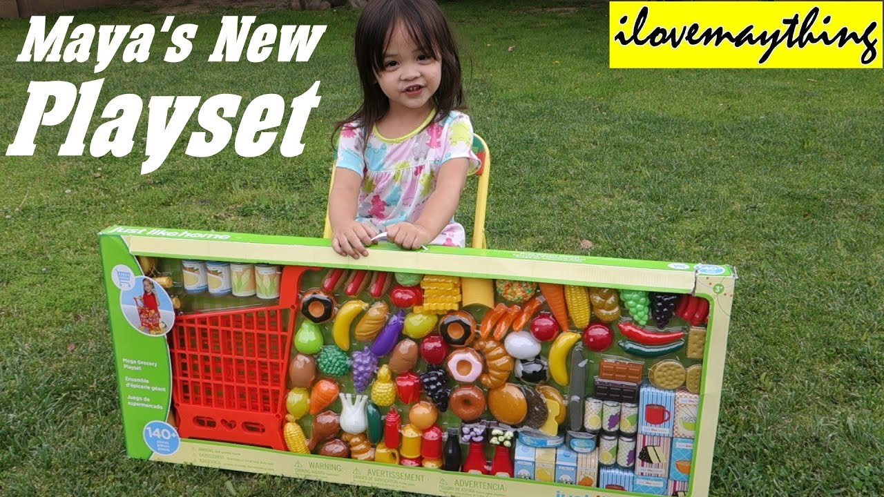 Kitchen Toy Set For Little Girls: Mayau0027s New Grocery Shopping Cart Set    YouTube