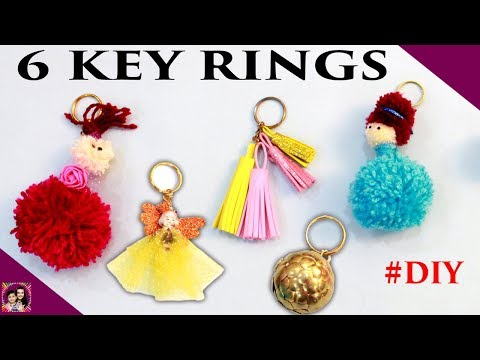6 KEY RINGS Make at home #Craft #DIY Best out of waste