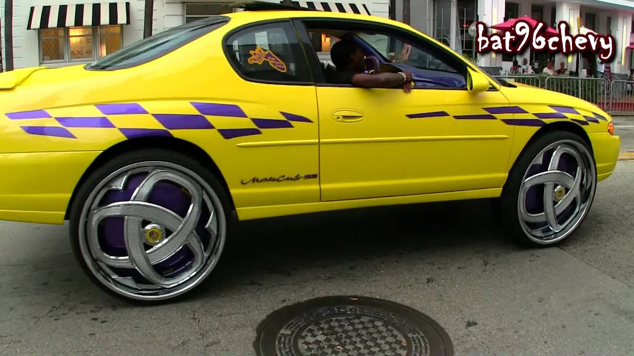 Yellow Purple Chevy Monte Carlo Ss On 30 Quot Dub Markee