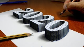 How to Draw 2020, 3D Drawing Trick Art On Line Paper