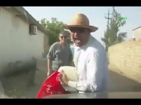 Man screams pretending to be badly hit by a car in Azerbaijan (BIZARRE INSURANCE SCAM FAIL)