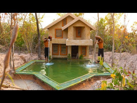 Build Awesome Swimming Pool And two story mud villa House And strong