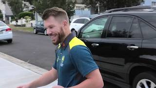 A Good Luck Kiss! Candice Warner farewells David Warner ahead of his Cricket Australia Return