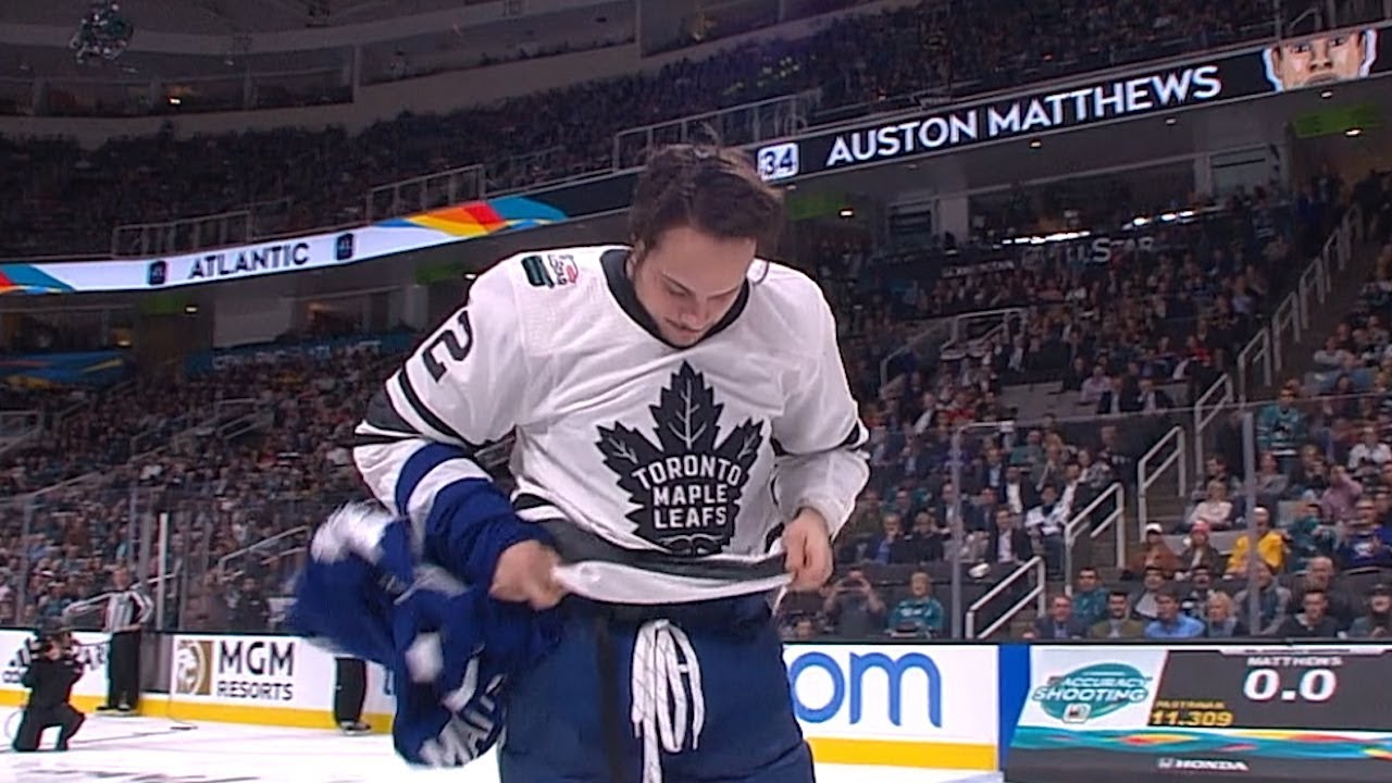 Auston Matthews wows San Jose crowd by unveiling Marleau jersey