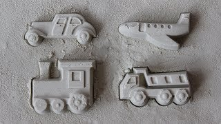 Play with truck, plane, car and train sand molds - video for children