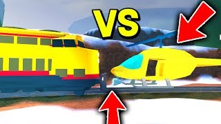 TRAIN VS HELICOPTERS IN ROBLOX JAILBREAK! *GAME BREAKS*
