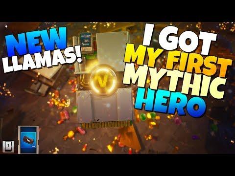 I GOT MY FIRST MYTHIC HERO!!! NEW Smrgsbord Llamas | Fortnite Save The World