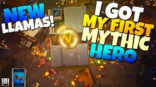 I GOT MY FIRST MYTHIC HERO!!! NEW Smörgåsbord Llamas | Fortnite Save The World