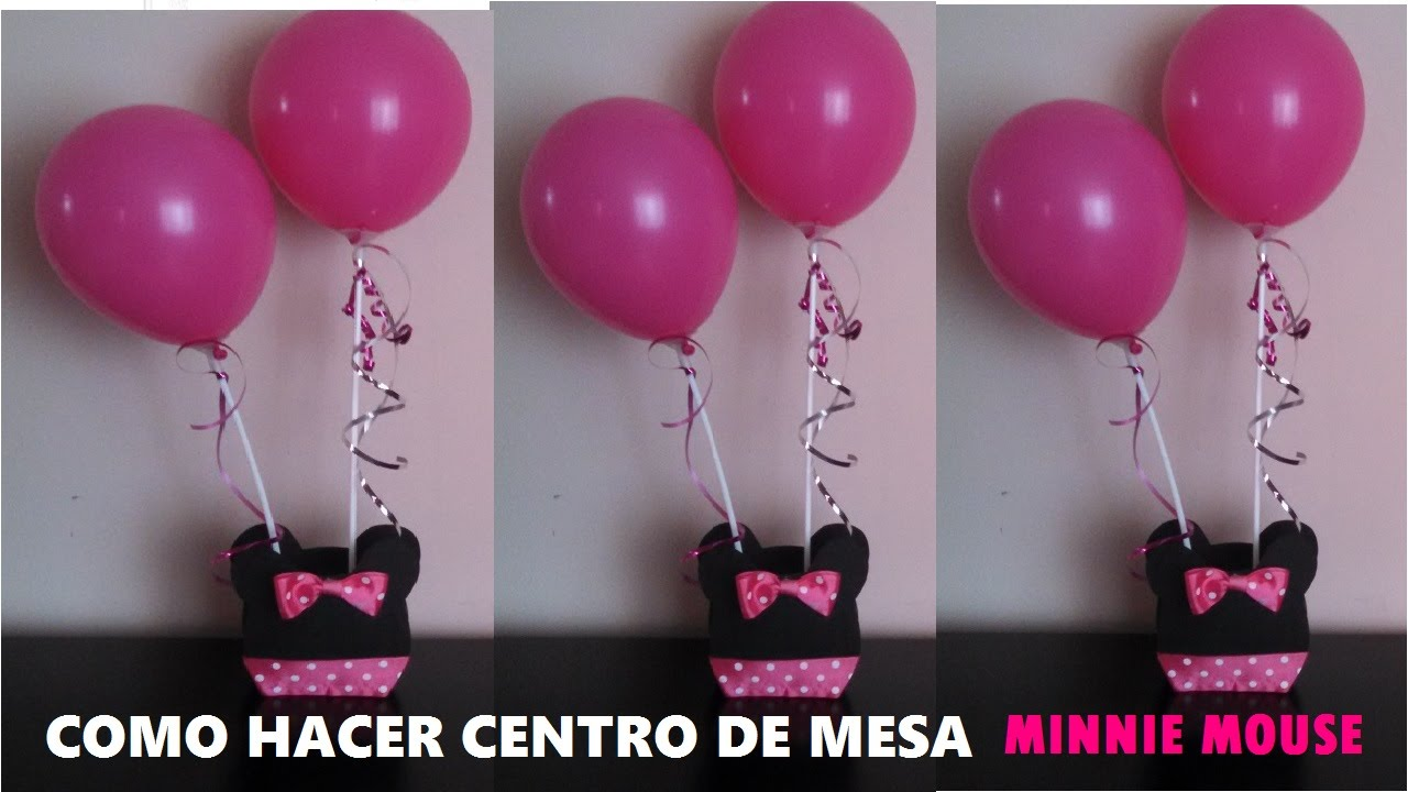 Decoracion Minie Dorada ~ CENTRO DE MESA MINNIE MOUSE  YouTube