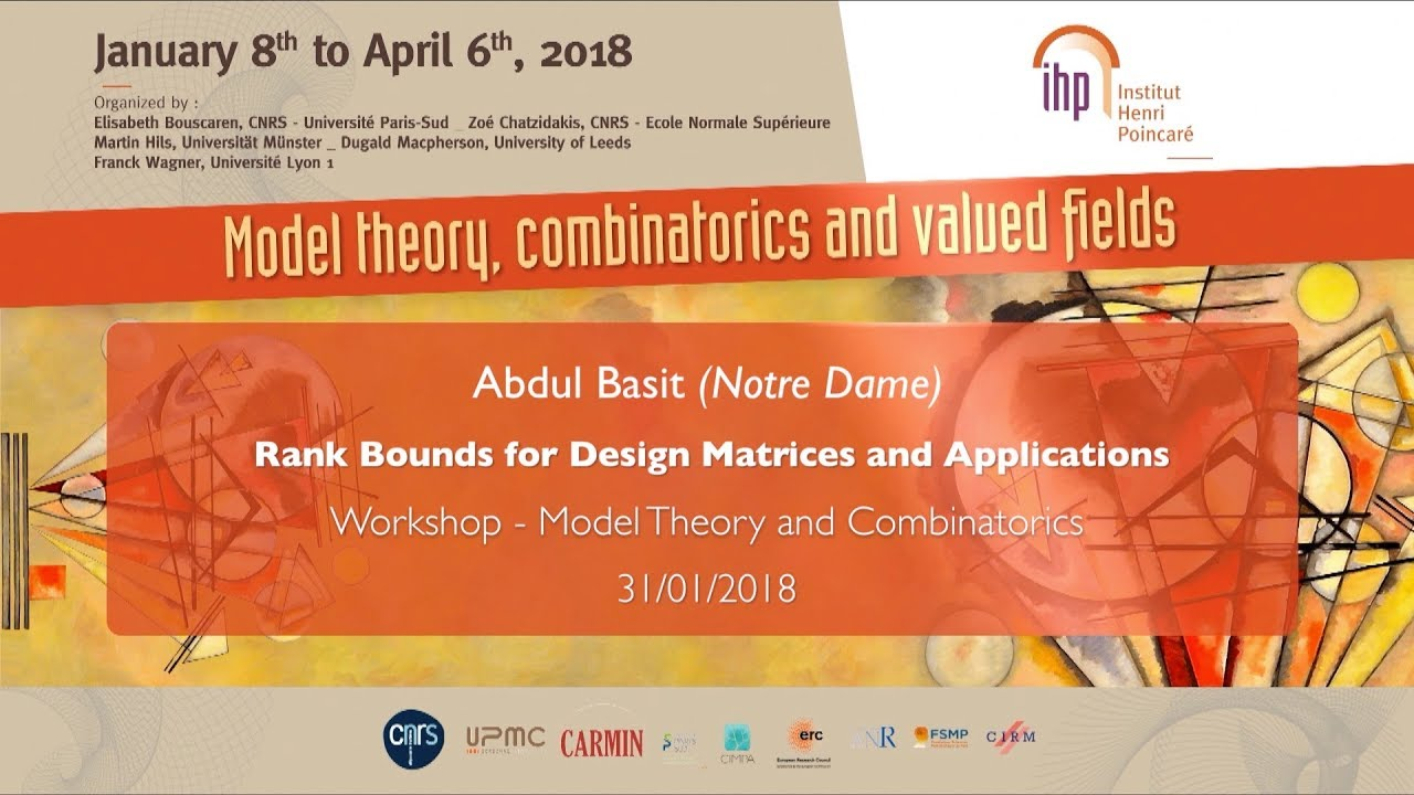 Rank Bounds for Design Matrices and Applications - A. Basit - Workshop 1 - CEB T1 2018
