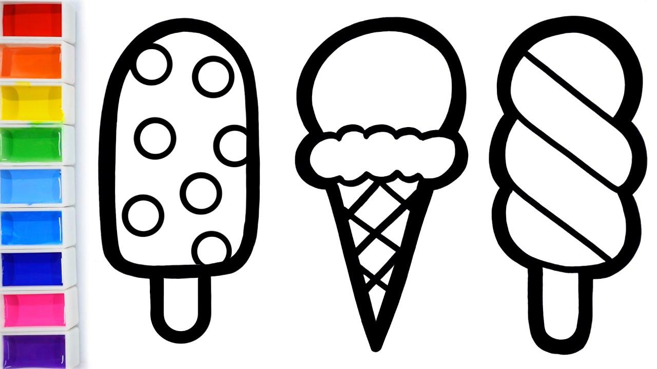 How To Draw Ice Cream Cone For Kids Glitter Rainbow Cara Menggambar Dan Mewarnai Ice Cream Youtube