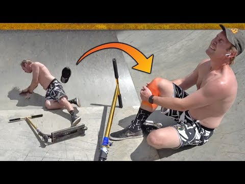 FAT DAD CRASHES ON SCOOTER AT SKATE PARK