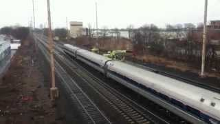 Rainy Amtrak & NJT Northeast Corridor Railfanning Linden 3/29/14