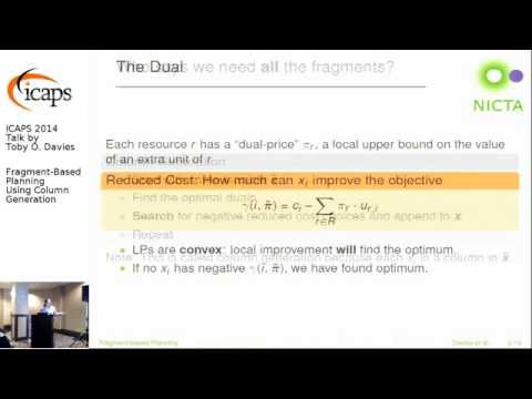 """ICAPS 2014: Toby O. Davies on """"Fragment-Based Planning Using Column Generation"""""""
