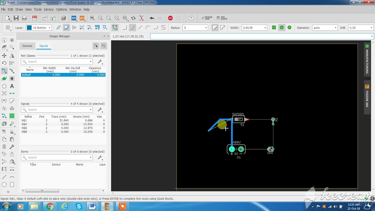 Simple Circuit Design And Pcb On Eagle Part 3 Youtube Software