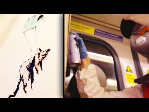 New Banksy Art Encourages Face Masks on London Tube