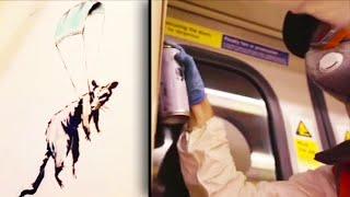 New Banksy Art Encourages Face Masks on London Tube