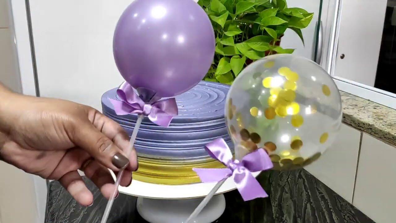 Balon Cake Lilás e Dourado