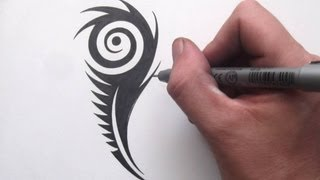 How to Draw a Peacock Feather - Tribal Tattoo Design Style