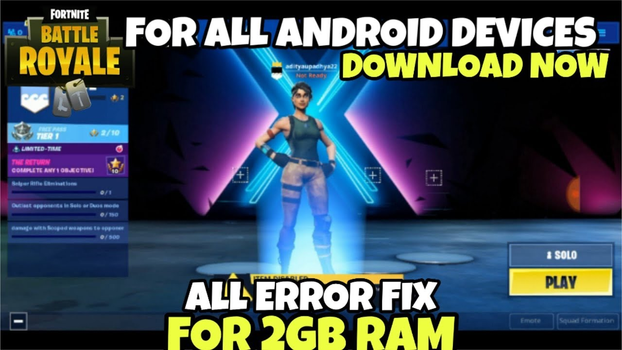 Fortninte For 2GB Ram Android Mobile | GPU NOT SUPPORTED FIXED | NO ROOT  100% Working With Proof