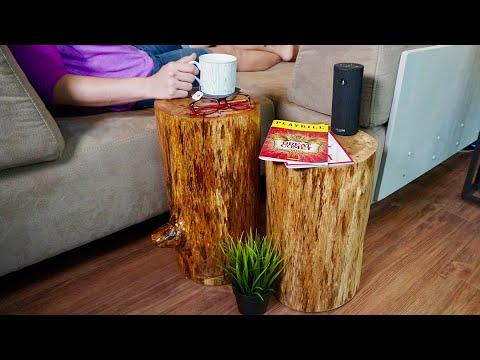 DIY Rustic Stump End Tables