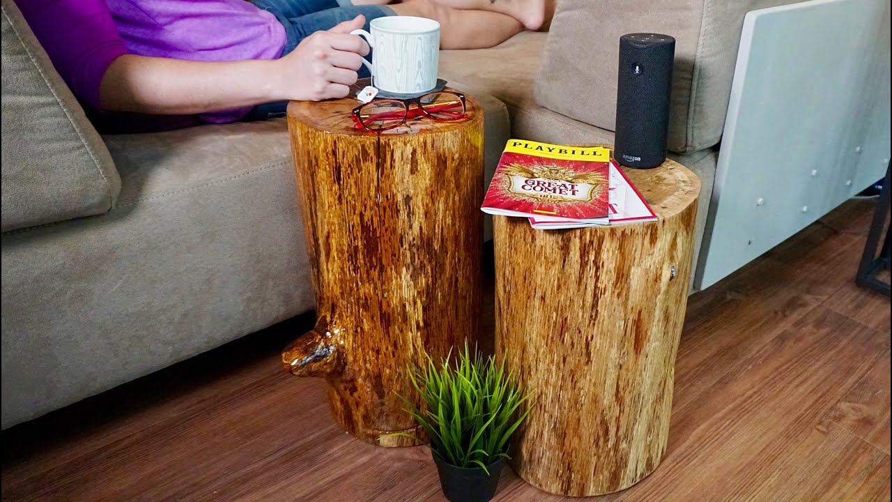 Diy Rustic Stump End Tables You