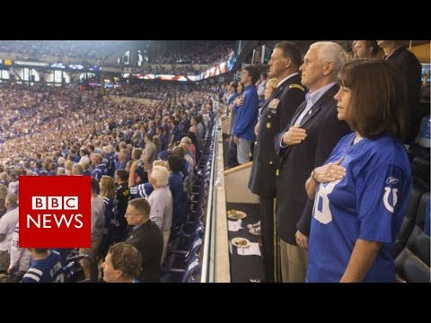 Trump NFL row: Mike Pence walks out of game after players kneel - BBC News