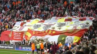 kop marley!! LFC v Villarreal liverpool sing Bob Marley everything